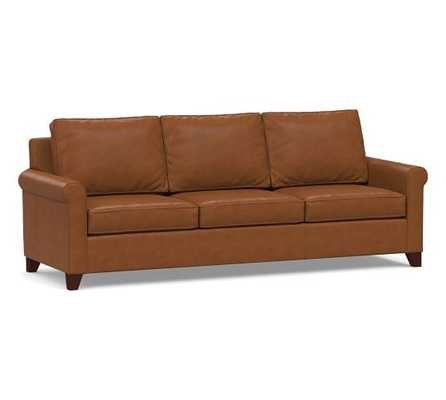 """Cameron Roll Arm Leather Grand Sofa 100"""", Polyester Wrapped Cushions, Leather Signature Maple - Pottery Barn"""