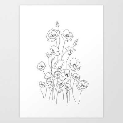Poppy Flowers Line Art Art Print - Society6