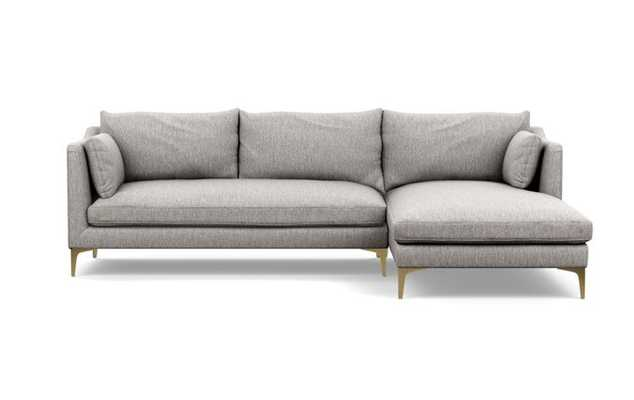 Caitlin by The Everygirl Chaise Sectional in Earth Fabric with Brass Plated legs - Interior Define