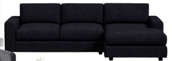 "Urban Set 4: Right Arm 76.5""Sofa + Left Arm Chaise, Heathered Tweed, Charcoal, Down Fill - West Elm"