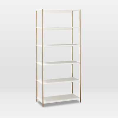 Zane Wide Bookshelf, White/Antique Brass-Individual - West Elm