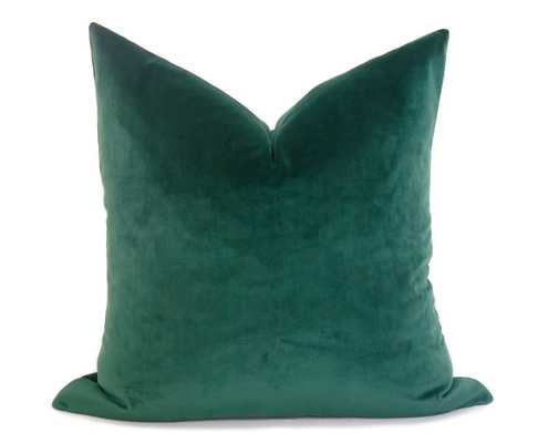 Plush Velvet Pillow Cover - Emerald Green - Willa Skye