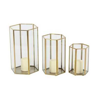 3 Piece Iron/Glass Hurricane Set - Wayfair