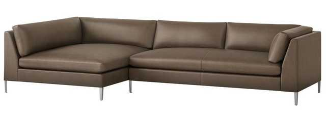 Decker 2-Piece Leather Sectional Sofa Whincherster Dove - CB2