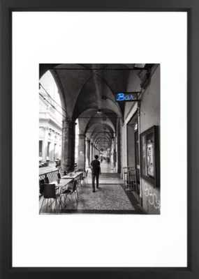 Black and white Bologna Street Photography Framed Art Print - Society6