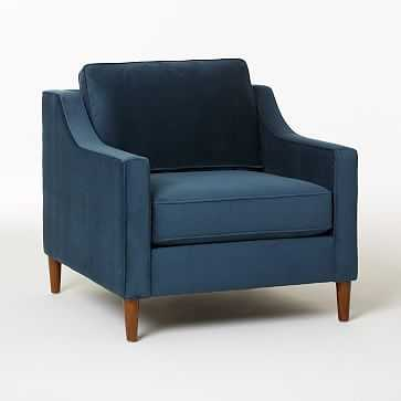 Paidge Chair, Poly Fill, Pecan Cone Leg, Performance Velvet, Lagoon - West Elm