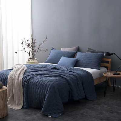 Fleisher Pre-Washed Reversible Twin Quilt Set, Blue - Wayfair
