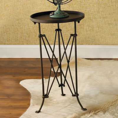 Round Metal Trestle Base Side Table - Shades of Light