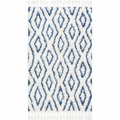 Reid Soukey Geometric Hand-Knotted Wool Blue/Bright White Area Rug - Wayfair