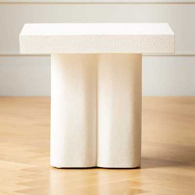 BISQUE PLASTER SIDE TABLE - CB2