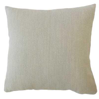 "Linen Herringbone Pillow, Pewter, 18"" x 18"" w/ Down Insert - Havenly Essentials"