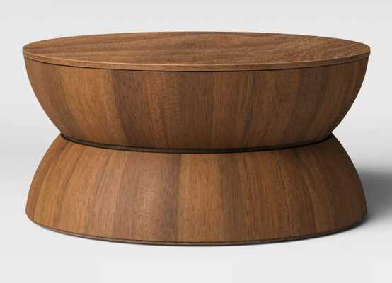 Prisma Round Natural Wood Turned Drum Coffee Table Brown - Project 62 - Target