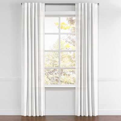 Custom Back Tab Draper - White Linen Sheer, unlined - Loom Decor