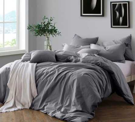 Swift Home Prewashed Yarn-Dyed Cotton King Duvet Cover Set in Grey - Bed Bath & Beyond