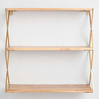 Natural Wood and Gold 3 Tier Wall Shelf by World Market - World Market/Cost Plus