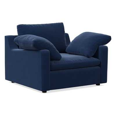 Harmony Swoop Arm Chair and a Half, Down, Performance Velvet, Ink Blue,Walnut - West Elm