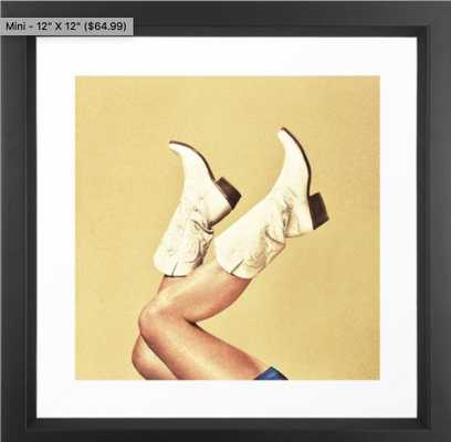These Boots Framed Art Print 12 x 12 - Society6