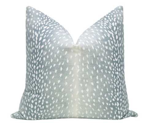 "Antelope Linen Print, Spa Blue, 18"" Pillow Cover - Little Design Company"
