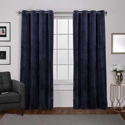 Velvet Navy Blue Heavyweight Grommet Top Window Curtain - Home Depot