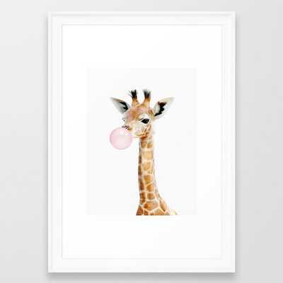 Bubble Gum Baby Giraffe Framed Art Print - Society6
