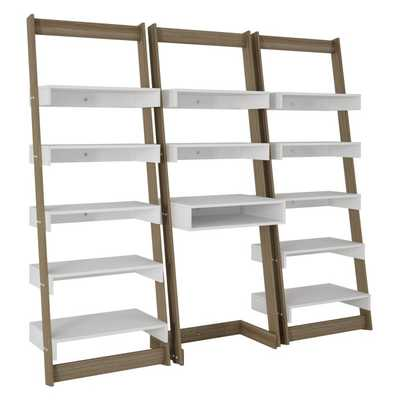 Manhattan Comfort 3 Piece Carpina Home Floating Ladder Shelf Office Desk - Hayneedle