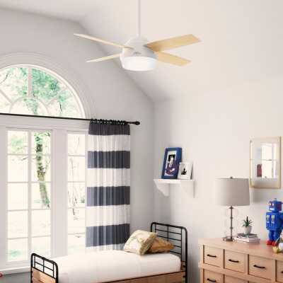"""44"""" Dempsey 4 - Blade LED Standard Ceiling Fan with Remote Control and Light Kit Included - Wayfair"""