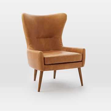Erik Wing Chair, Poly, Vegan Leather, Saddle, Dark Oak - West Elm