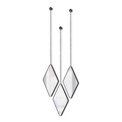 Dima Modern & Contemporary Mirror Set (Set of 3) // Black - Wayfair