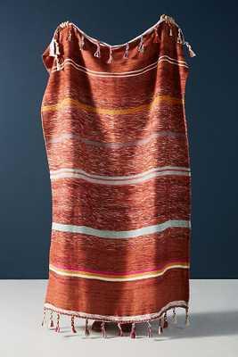 Woven Anya Striped Throw Blanket - Dark Orange - Anthropologie