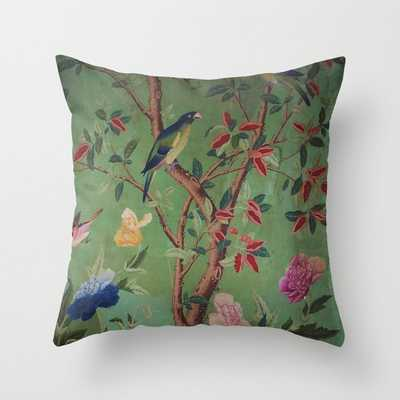 Green Dream Chinoiserie Throw Pillow - Society6