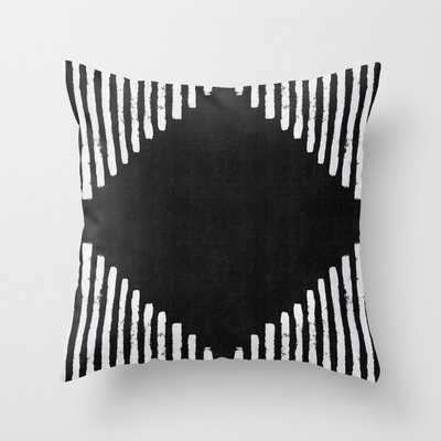 "Diamond Stripe Geometric Block Print in Black and White Throw Pillow - OUTDOOR - Cover (20"" X 20"") With Pillow Insert - Society6"
