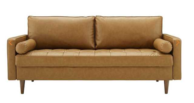 Valour Upholstered Faux Leather Sofa in Tan - Modway Furniture
