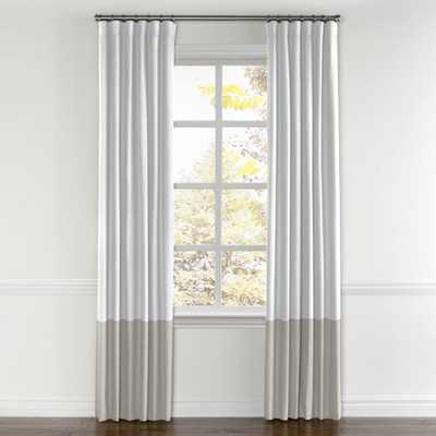 """Convertible Drapery, Classic Linen Pure - White, Bottom Color Block-Classic Linen - Heathered Dove, Pair, Panel Type: Pair, Split DrawWidth: 45""""Length: 138""""Lining: Unlined - Loom Decor"""