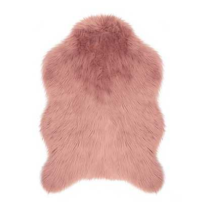Faux-Fur Blush 3 ft. x 2 ft. Area Rug - Home Depot
