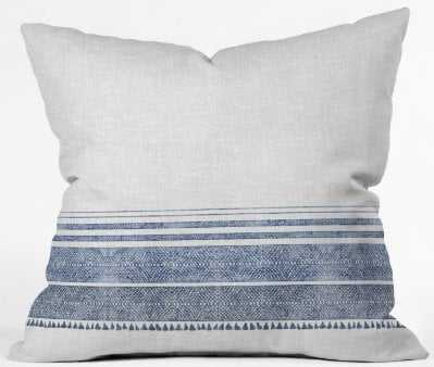 FRENCH LINEN CHAMBRAY TASSEL Throw Pillow with Insert - 16x16 - Wander Print Co.