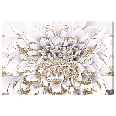 'Floralia Blanc Floral and Botanical Art' Graphic Art on Canvas in White/Gold/Yellow - Wayfair