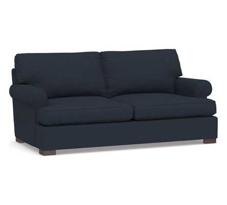 "Townsend Roll Arm Upholstered Sofa/ Loveseat 79""/ Performance Brushed Basketweave, Indigo Blue - Pottery Barn"