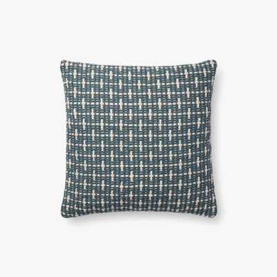 "Magnolia Home P1096 BLUE 18"" pillow with poly Insert - Loma Threads"