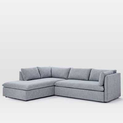 Shelter Set Left 2-Piece Terminal Chaise Sectional, Shelter Blue - West Elm