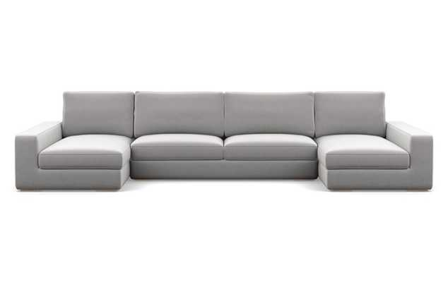 """Ainsley U-Sectional with Ash Performance Felt Fabric, and Natural Oak legs // Standard Chaise Length // 149"""" - Interior Define"""