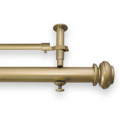 """Queenstown Adjustable Double Curtain Rod- gold 144"""" - Wayfair"""