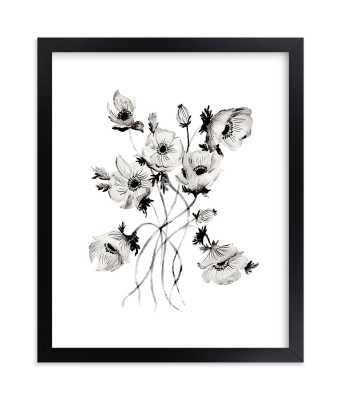 "Greyscale Poppies Art Print - 8"" x 10"" - black wood frame - Minted"