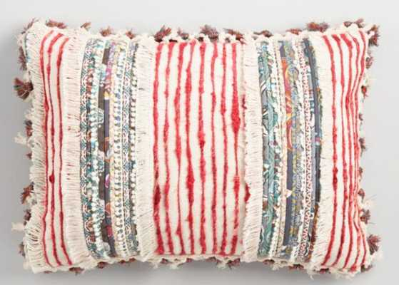 Multicolor Fringe And Tassel Lumbar Pillow - World Market/Cost Plus