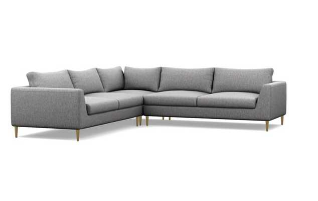 Asher Corner Sectional Sofa with brass plated tapered legs - Interior Define