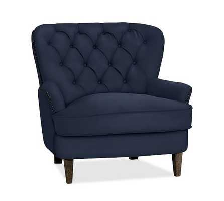 Cardiff Upholstered Armchair, Polyester Wrapped Cushions, Twill Cadet Navy - Pottery Barn