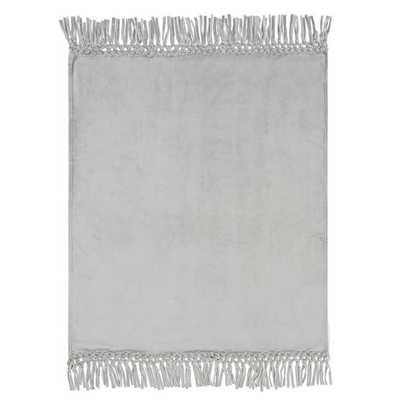 Plush Bohemian Fringe Throw, 45x56, Light gray - Pottery Barn Teen