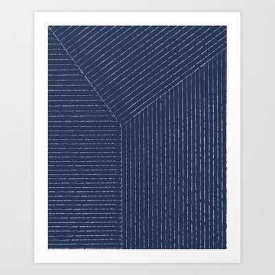 Lines (Navy) Art Print - Society6