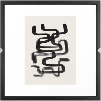 Mid Century Modern Minimalist Abstract Art Brush Strokes Black & White Ink Art Pipe Maze Framed Art Print - Society6