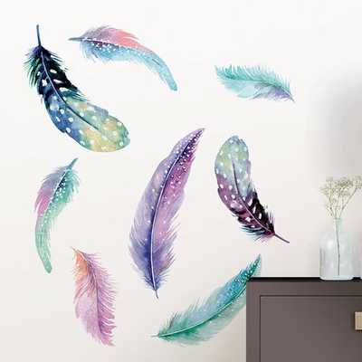 Wall Art Kit Celestial Feathers Wall Decal - Wayfair