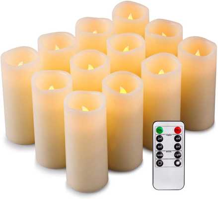 Enpornk Set of 12 Flameless Candles Battery Operated LED Pillar Real Wax Flickering Electric Unscented Candles with Remote Control Cycling 24 Hours Timer, Ivory Color - Amazon